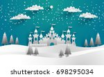 the beautiful castle in winter... | Shutterstock .eps vector #698295034