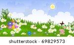 flower meadow panorama   Shutterstock .eps vector #69829573