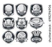 9 sport logo black   white... | Shutterstock .eps vector #698296906