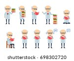 set of old professor characters ... | Shutterstock .eps vector #698302720