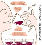 wine tasting event template....   Shutterstock . vector #698306548