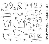 big set of hand drawn numbers ... | Shutterstock .eps vector #698313130
