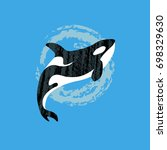 whale killer in water. orca in... | Shutterstock .eps vector #698329630