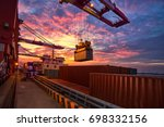 the freighter docked at the... | Shutterstock . vector #698332156
