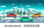 cars on the winter city... | Shutterstock .eps vector #698333188