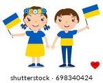 smiling chilldren  boy and girl ... | Shutterstock .eps vector #698340424
