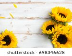 Yellow Sunflower Bouquet White Rustic - Fine Art prints