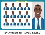 set of male facial emotions... | Shutterstock .eps vector #698353369