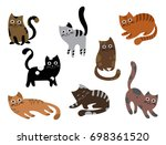 a set of cats. a collection of... | Shutterstock .eps vector #698361520