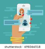 chatbot concept. woman hand... | Shutterstock .eps vector #698366518