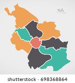 cologne map with boroughs and... | Shutterstock .eps vector #698368864