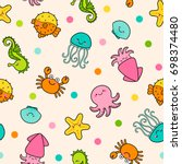 cute marine life cartoon... | Shutterstock .eps vector #698374480