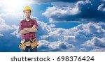 builder construction on... | Shutterstock . vector #698376424