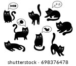 Stock vector a set of black cats a collection of cartoon cats for halloween lovely playing black kittens 698376478