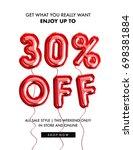 30 percent  off discount... | Shutterstock . vector #698381884