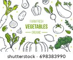 farm fresh vegetables poster.... | Shutterstock . vector #698383990