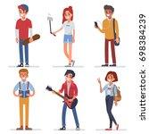 happy modern teenagers... | Shutterstock . vector #698384239