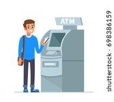 man customer standing near atm... | Shutterstock . vector #698386159