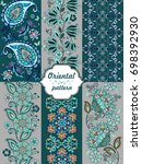 collection of striped oriental...   Shutterstock .eps vector #698392930
