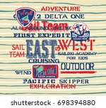 cute sailing team kids crew ... | Shutterstock .eps vector #698394880
