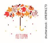 hello autumn. hand drawn... | Shutterstock .eps vector #698396173