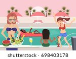 hen party at pool  vector... | Shutterstock .eps vector #698403178