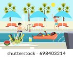 young people at pool party... | Shutterstock .eps vector #698403214