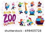 flat collection of happy funny... | Shutterstock . vector #698405728