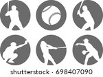 simple baseball icons set  ... | Shutterstock .eps vector #698407090