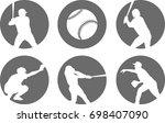 Simple Baseball Icons Set  ...