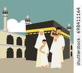 muslim pilgrims perform hajj  ... | Shutterstock .eps vector #698411164