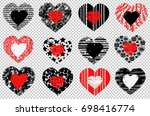 set of hearts. hand drawn... | Shutterstock .eps vector #698416774