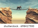 an elephant goes on a wooden... | Shutterstock . vector #698417500