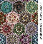 oriental seamless pattern in... | Shutterstock .eps vector #698418064