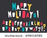 vector uppercase colorful... | Shutterstock .eps vector #698418580