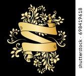 golden page decoration element. ... | Shutterstock .eps vector #698419618