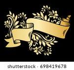 golden page decoration element. ... | Shutterstock .eps vector #698419678