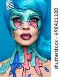 fashionable zombie girl.... | Shutterstock . vector #698421100