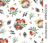 seamless pattern with mushrooms ... | Shutterstock . vector #698422150