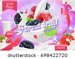 forest fruit yogurt. mixed... | Shutterstock .eps vector #698422720