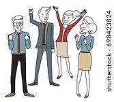 project achievement concept...   Shutterstock .eps vector #698423824