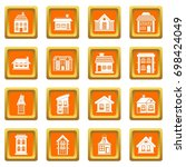 house icons set in orange color ... | Shutterstock .eps vector #698424049