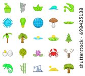 natural strength icons set.... | Shutterstock .eps vector #698425138