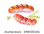 grilled sausages  hot dogs or... | Shutterstock . vector #698430106