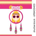 hippie woman concept peace and... | Shutterstock .eps vector #698433403