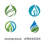 logos of green leaf ecology... | Shutterstock .eps vector #698434204