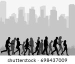 vector  silhouette of a crowd... | Shutterstock .eps vector #698437009