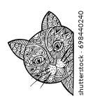 cute cat head doodle style. | Shutterstock .eps vector #698440240