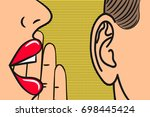 woman lips with hand whispering ... | Shutterstock .eps vector #698445424