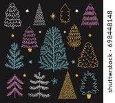 set of christmas trees on black ... | Shutterstock .eps vector #698448148
